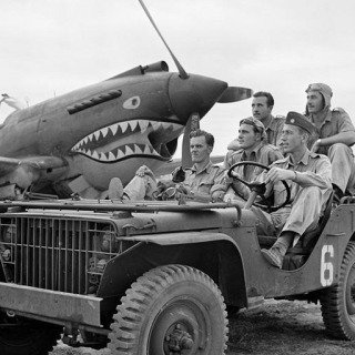 BURMA (Myanmar). Mingladon Air field, near Rangoon (Yangon). World War II. The Flying Tigers. Pilots Newkirk, Gesselbracht, Howard (front seat), Bartling and Lather (back seat).  art for sale