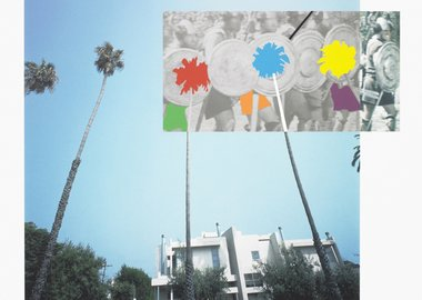 John Baldessari - The Overlap Series: Palmtrees and Building (with Vikings)