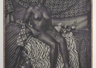 Mickalene Thomas - Portrait of Marie Sitting in Black and White