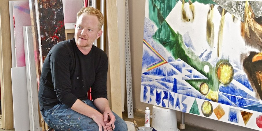 The painter Barnaby Furnas in his Chelsea studio, at work on a painting from his current show at Marianne Boesky (Sept. 10 - Oct. 10). Photographs: Simon Courchel for Artspace