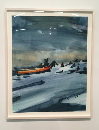 Norbert Bisky arriving by dawn oil on paper Koenig ampersand Clinton ny