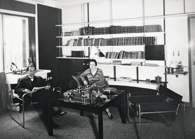 Ise and Walter Gropius in their Bauhaus apartment, 1927; with B3 Wassily chairs