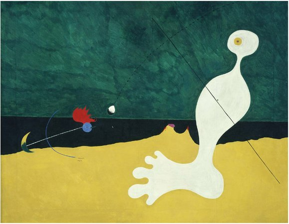 joan miro person throwing a stone at a bird