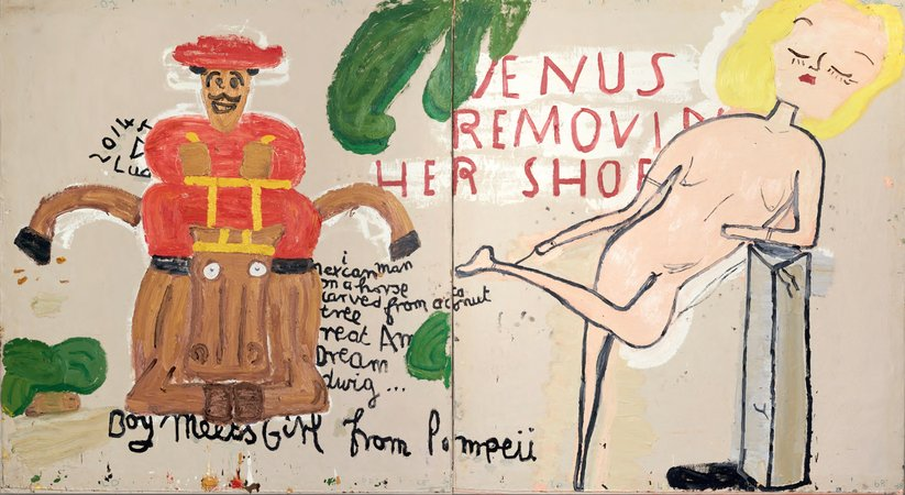 Rose Wylie, Boy Meets Girl from Pompeii, 2015