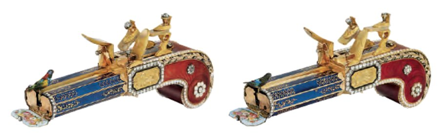 Attributed to Freres Rochat, pair of mirror-image singing bird pistols, c.1820