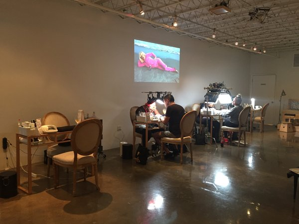 Vanity Projects nail salon with Daata editions video by chloe wise in background