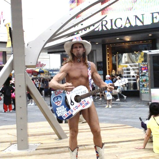 The Naked Cowboy on Mel Chin's Times Square Installation