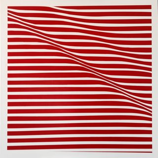 Lineas Onduladas en rojo art for sale