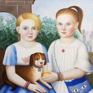 Two Girls with Dog art for sale