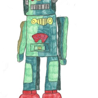 Two Green and Red Robot art for sale