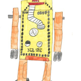 Yellow and Orange Robot art for sale
