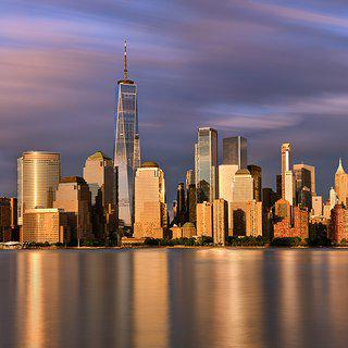 Andrew Prokos, Lower Manhattan and World Trade Center at Sunset - Long Exposure