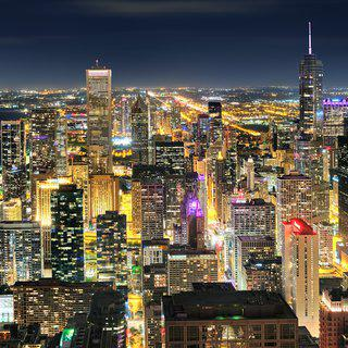 Chicago Night Panorama art for sale