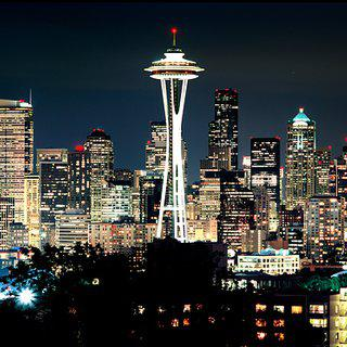 Panoramic Skyline of Seattle at Night art for sale