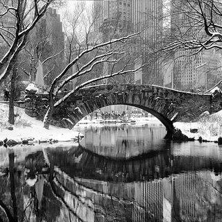 Panoramic View of Gapstow Bridge in Winter, Central Park art for sale