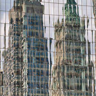 Reflections on a Glass Facade, Lower Manhattan art for sale