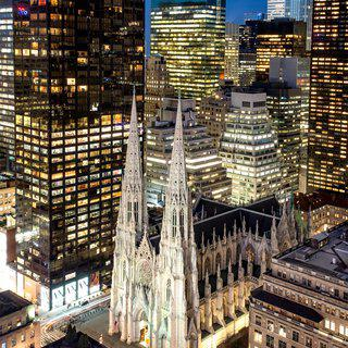 St. Patrick's Cathedral and Manhattan Skyscrapers at Night art for sale