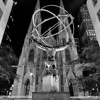 Andrew Prokos, Rockefeller Center Atlas and St. Patrick's Cathedral at Night