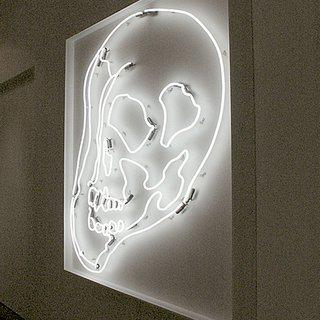 White Warhol Neon Skull LG art for sale