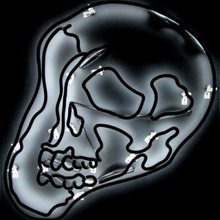 Black Warhol Neon Skull LG art for sale