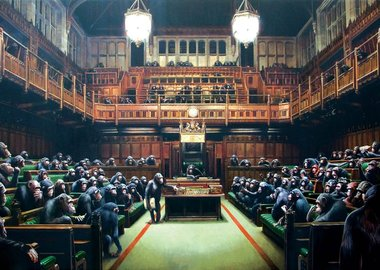 work by Banksy - Monkey Parliament