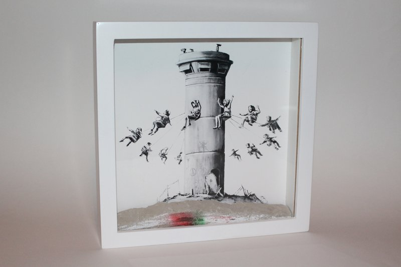 Banksy walled of hotel box kids Art  Reprint On Framed Canvas home decoration