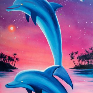 Cosmic Dolphins Beach Towel art for sale