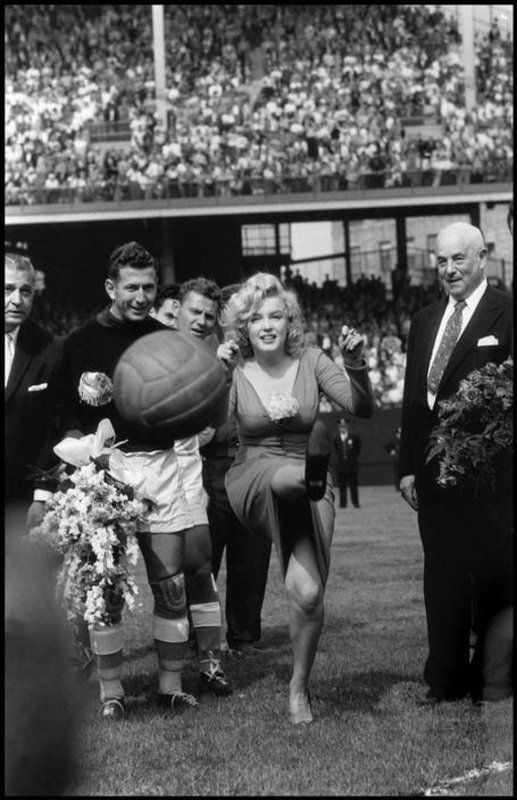 Bob Henriques, New York City. US actress Marilyn Monroe opening the USA-Israel Football International at Ebbets Field, home of the Brooklyn Dodgers. 1959.