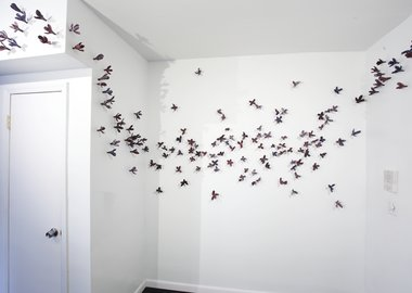 Bradley Sabin - Purple Floral Wall Installation