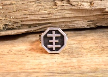 work by Breyer P-Orridge - Psychic Cross Wax Signet Ring
