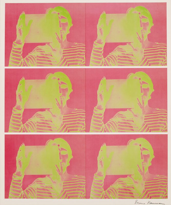 "main work - Bruce Nauman, Untitled (2-color lithograph, published in conjunction with the exhibition ""Bruce Nauman: Holograms, Videotapes, and Other Works"")"