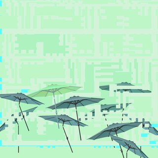 Umbrellas Glitch art for sale