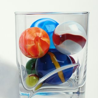 Marbles and Square base Glass art for sale