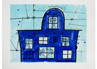 work by Carroll Dunham - Blue House