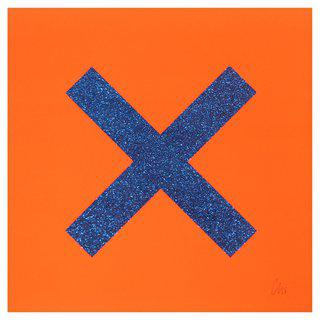 Marks The Spot Blue on Orange art for sale