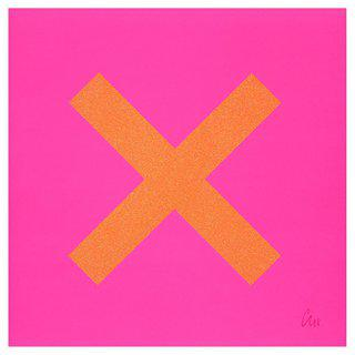 Marks The Spot Orange on Pink art for sale