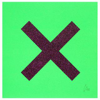 Marks The Spot Purple on Green art for sale