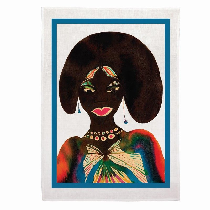 by chris_ofili - Afromuses (Woman) Tea Towel