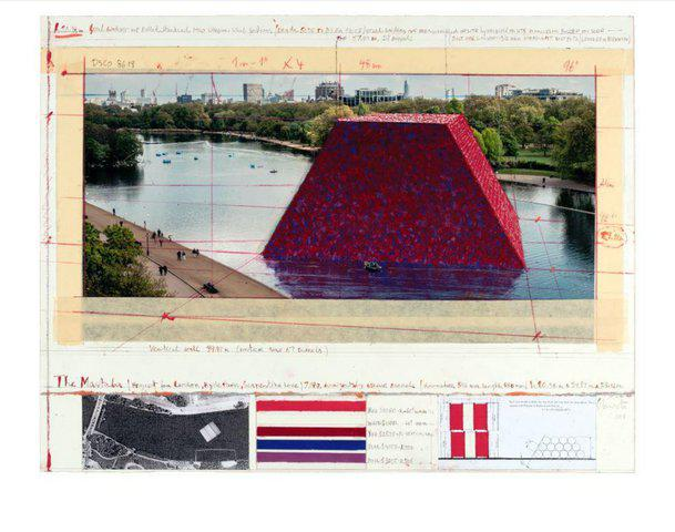 Christo and Jeanne-Claude - The Mastaba (Project for London, Hyde Park, Serpentine Lake), Print