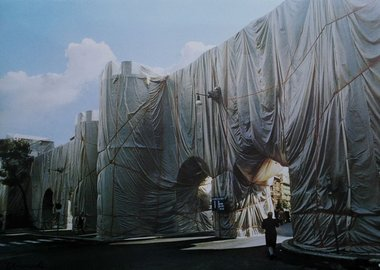 work by Christo and Jeanne-Claude - The Wall - Wrapped Roman Wall