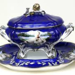 Madame de Pompadour (née Poisson), Royal Blue Soup Tureen art for sale