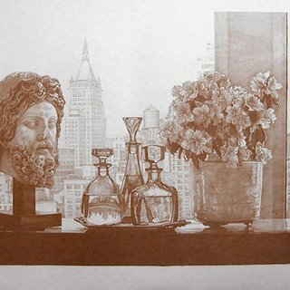 New York Still Life (Sepia) art for sale