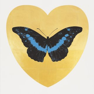 Damien Hirst, I love You - Gold Leaf/Black/Turquoise