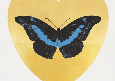 Damien Hirst - I love You - Gold Leaf/Black/Turquoise