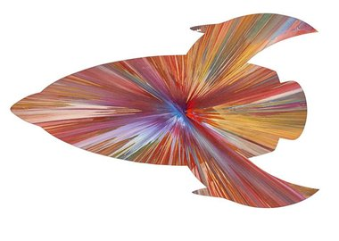 "work by Damien Hirst - ""Rocket Spin Painting"" Made at Damien Hirst Spi..."