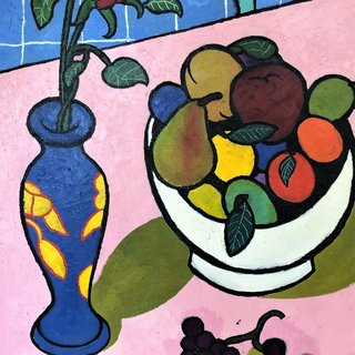 Bowl of Fruit and Vase of Flowers art for sale