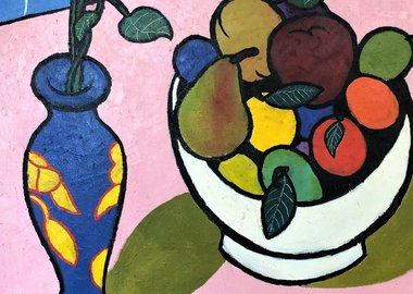 work by Daniel Brennan - Bowl of Fruit and Vase of Flowers