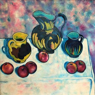 Pitcher and Apples art for sale