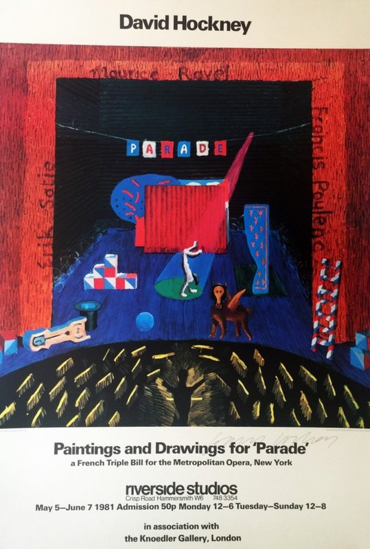by david_hockney - Paintings and Drawings for Parade - Metropolitan Museum (Rare Hand Signed Offset Lithograph)