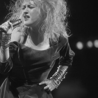 Cyndi Lauper Singing on Stage, Hair Blown Back art for sale
